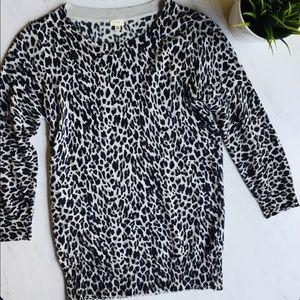 J. CREW Leopard Cheetah Print Crew Neck Sweater XS